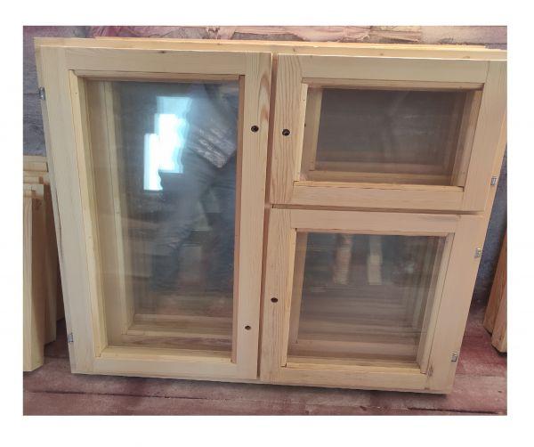 Деревянное окно  двустворчатое с форточкой
